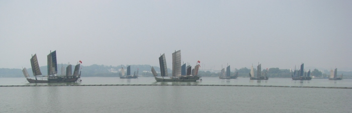 Some junks on the #Taihu lake. They are rented by the government for the Chinese National Day